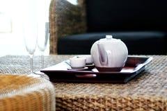 Chinese tea set. On cany salver stock photos
