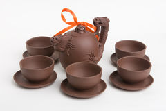 Chinese Tea set. A complete ceramic clay Chinese Tea Set royalty free stock photo