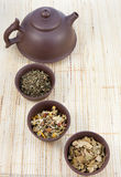 Chinese Tea Set And Herbal Teas Royalty Free Stock Photo