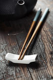 Chinese Tea Set and chopsticks Stock Image