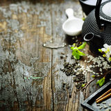 Chinese Tea Set and chopsticks Royalty Free Stock Images
