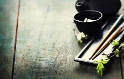 Chinese Tea Set and chopsticks Stock Photo