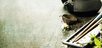 Chinese Tea Set and chopsticks Royalty Free Stock Image