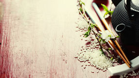 Chinese Tea Set and chopsticks Stock Image