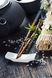 Chinese Tea Set and chopsticks Stock Images