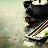 Chinese Tea Set and chopsticks Stock Photography
