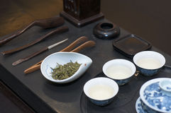 Chinese tea set. A complete set of Chinese tea brewing utensils Royalty Free Stock Photography