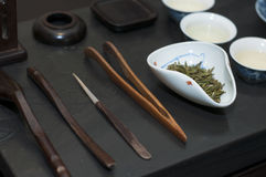 Chinese tea set. A complete set of Chinese tea brewing utensils Royalty Free Stock Images