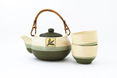Chinese tea set with cups of tea  Royalty Free Stock Photo
