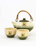 Chinese tea set with cups of tea isolated.  royalty free stock photography