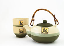 Chinese tea set with cups of tea isolated Royalty Free Stock Photography