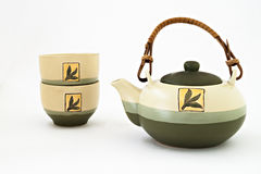 Chinese tea set with cups of tea isolated.  stock images