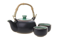 Chinese tea set with cups and tea pot Royalty Free Stock Photography