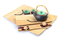 Chinese tea set with cups and tea pot Royalty Free Stock Photos