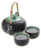 Chinese tea set with cups and tea pot Stock Photo