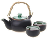 Chinese tea set with cups and tea pot Royalty Free Stock Photo