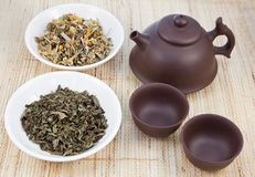 Chinese tea set and herbal  teas Stock Image