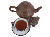 Chinese tea set isolated on a white background Royalty Free Stock Photos