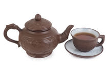 Chinese tea set isolated on a white background Stock Photo