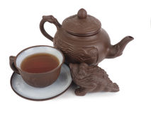 Chinese tea set isolated on a white background Royalty Free Stock Image