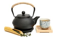 Chinese tea set. Isolated  on a white background Royalty Free Stock Image