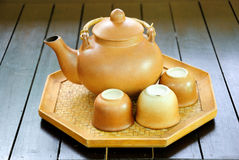 Chinese tea set with pot and cups Royalty Free Stock Images