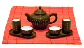 Chinese tea set on red mat Royalty Free Stock Photo