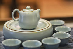 Chinese tea set. Ting with teapot and cups Stock Images