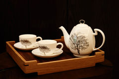 Chinese tea set tea things. Chinese tea set on wooden table Royalty Free Stock Images