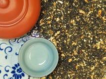 Chinese Tea Set Top View Stock Photos