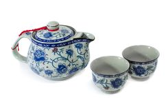 Chinese tea set on white background stock photo
