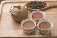 Chinese tea set on wooden, closeup Royalty Free Stock Photo
