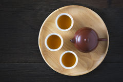 Chinese tea set on wooden, closeup Stock Images