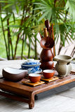 Chinese tea-set. On a wooden table royalty free stock photography