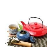 Chinese tea sets. Closeup of chinese tea set on white background Stock Photos