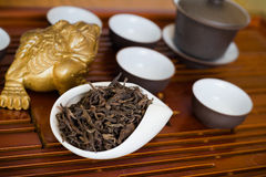 Chinese tea in a cup on a wooden desk. Chinese ceremony with different type of tea Royalty Free Stock Image