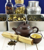 Chinese Tea Still Life With Kettle, Bowl And Scroll Stock Image