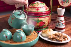 Chinese tea time style with bakery. stock photos