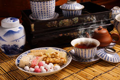 Chinese tea with traditional snack Royalty Free Stock Image