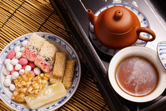 Chinese tea with traditional snack Royalty Free Stock Photo