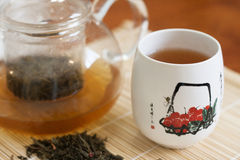Chinese tea. In a transparent teapot with pialat royalty free stock photography