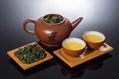 Chinese Tea. Two cups of Chinese tea and dry tea Royalty Free Stock Images