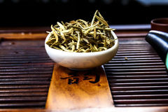 Chinese tea on wood plate. Background and rice paper Stock Images