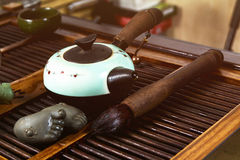 Chinese tea on wood plate. Background and rice paper Stock Image