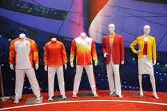 Chinese team outfit in Beijing 2008 Olympic. The 28th China International Sporting Goods Show 2011,Chengdu Royalty Free Stock Photo