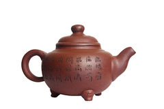 Chinese teapot. Ceramic chinese teapot on the white background Stock Photography