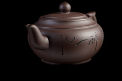 Chinese teapot. On black background Stock Photo