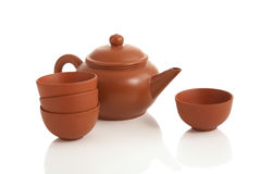 Chinese teapot and cup. On white background Stock Photo