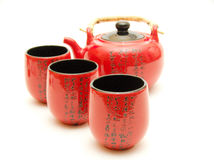 Chinese teapot with cups stock photos