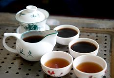 Chinese teapot and cups. Traditional chinese teapot and cups Stock Photos
